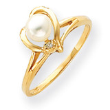 4.5mm Cultured Pearl Diamond ring 14k Gold Y4394PL/AA