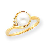 6mm Cultured Pearl Diamond ring 14k Gold Y4395PL/AA