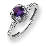 5mm Amethyst Diamond ring 14k White Gold Y4422AM/AA