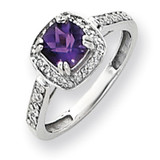 6mm Amethyst Diamond ring 14k White Gold Y4424AM/AA