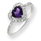 6mm Heart Amethyst Diamond ring 14k White Gold Y4438AM/AA
