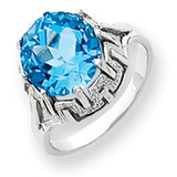10mm Blue Topaz ring 14k White Gold Y4515BT