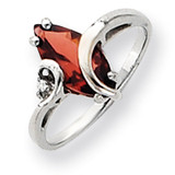 12x6mm Marquise Garnet Diamond ring 14k White Gold Y4530GA/AA