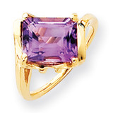 10x8mm Emerald Cut Amethyst ring 14k Gold Y4537AM