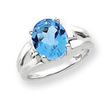 11x9mm Oval Blue Topaz ring 14k White Gold Y4547BT