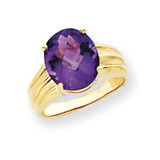 12x10mm Oval Amethyst ring 14k Gold Y4548AM