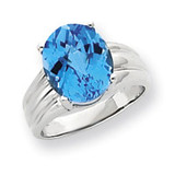 12x10mm Oval Blue Topaz ring 14k White Gold Y4549BT