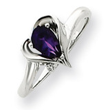 6x4mm Pear Amethyst Diamond ring 14k White Gold Y4560AM/AA