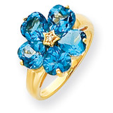 6mm Heart Blue Topaz Diamond ring 14k Gold Y4583BT/AA