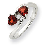 5mm Heart Garnet ring 14k White Gold Y4585GA