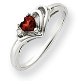 4mm Heart Garnet Diamond Ring 14k White Gold Y4587GA/AA