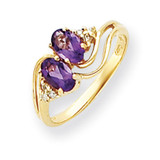 6x4mm Oval Amethyst Diamond ring 14k Gold Y4617AM/AA