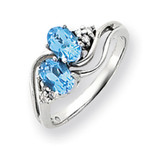 6x4mm Oval Blue Topaz Diamond ring 14k White Gold Y4618BT/AA