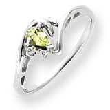 5x3mm Pear Peridot Diamond ring 14k White Gold Y4628PE/AA