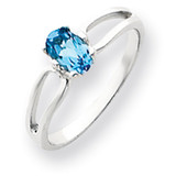 6x4mm Oval Blue Topaz ring 14k White Gold Y4634BT