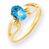 7x5mm Oval Blue Topaz ring 14k Gold Y4641BT