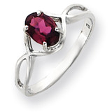 7x5mm Oval Rhodolite Garnet ring 14k White Gold Y4645RG
