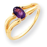 6x4mm Oval Amethyst ring 14k Gold Y4646AM