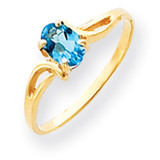 6x4mm Oval Blue Topaz ring 14k Gold Y4648BT