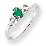 5x3mm Oval Emerald ring 14k White Gold Y4651E