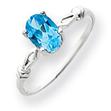 7x5mm Oval Blue Topaz ring 14k White Gold Y4655BT