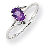 6x4mm Oval Amethyst ring 14k White Gold Y4660AM