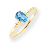 6x4mm Oval Blue Topaz ring 14k Gold Y4666BT