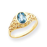 7x5mm Oval Blue Topaz ring 14k Gold Y4673BT