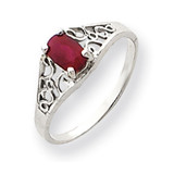 6x4mm Oval Ruby ring 14k White Gold Y4676R