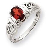 7x5mm Oval Garnet ring 14k White Gold Y4686GA