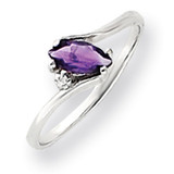 7x3.5mm Marquise Amethyst Diamond ring 14k White Gold Y4746AM/AA