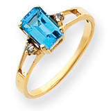 7x5mm Emerald Cut Blue Topaz Diamond ring 14k Gold Y4757BT/AA