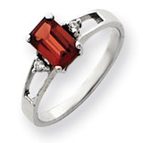 7x5mm Emerald Cut Garnet Diamond Ring 14k White Gold Y4758GA/AA