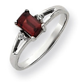 6x4mm Emerald Cut Garnet Diamond ring 14k White Gold Y4762GA/AA