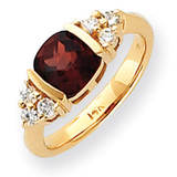 7mm Garnet Diamond ring 14k Gold Y4775GA/AA