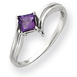 4mm Princess Cut Amethyst ring 14k White Gold Y4782AM