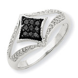 Black & White Diamond Ring 14k White Gold Y7969AA