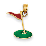 Enameled Golf Flag on Green Charm 14k Gold YC1007