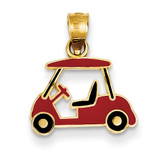 Enameled Golf Cart Charm 14k Gold YC1008