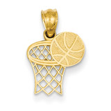 Basketball & Hoop Pendant 14k Gold YC1059