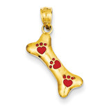Dog Bone with Red Enamel Paw Prints Pendant 14k Gold YC1104