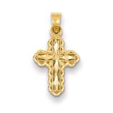 Small Diamond-cut Cross Charm 14k Gold YC193