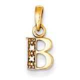 0.01ct Diamond Initial B Pendant 14k Gold Polished YC250B
