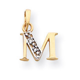 Polished .01ct Diamond Initial M Charm 14K Gold & Rhodium YC250M