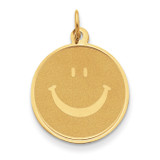 Smiley Face Pendant 14k Gold Solid Polished YC285