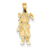 Girl Baseball Player Pendant 14k Gold YC36