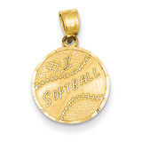 #1 Softball Disc Pendant 14k Gold YC39