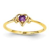 Genuine February Birthstone Heart Ring 14k Gold YC425