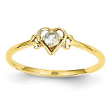 Genuine March Birthstone Heart Ring 14k Gold YC426