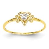 Genuine April Birthstone Heart Ring 14k Gold YC427